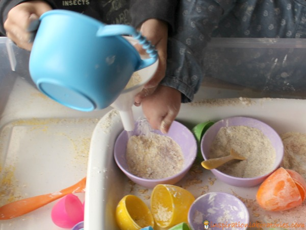 Use plastic Easter eggs for pretend cooking sensory play.