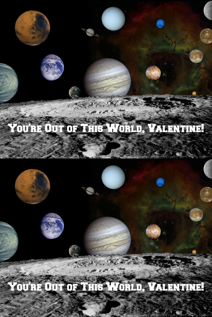 Solar system valentine cards - free to print out