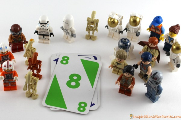 Play a math game with Star Wars LEGO minifigures.