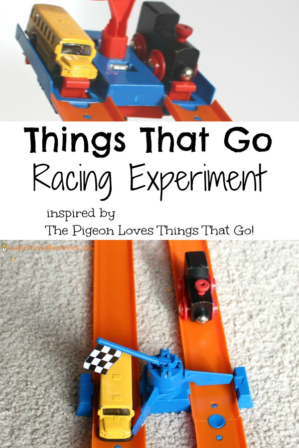 Set up a racing experiment inspired by The Pigeon Loves Things That Go!
