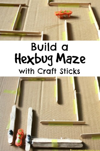 Challenge your kids to build a hexbug maze with craft sticks.