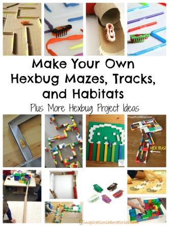 Make your own hexbug mazes, tracks, and habitats! Build with materials and toys you have around your house.
