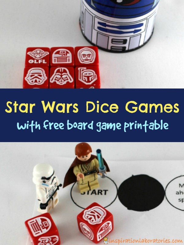 Play these fun Star Wars dice games with galactic dice, LEGO minifigures, and a free printable board game