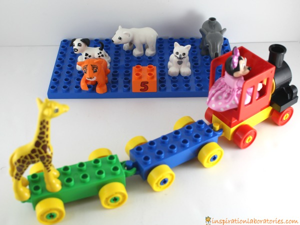 Use DUPLO animals to practice counting.