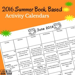 2016 Summer Book Based Activity Calendars