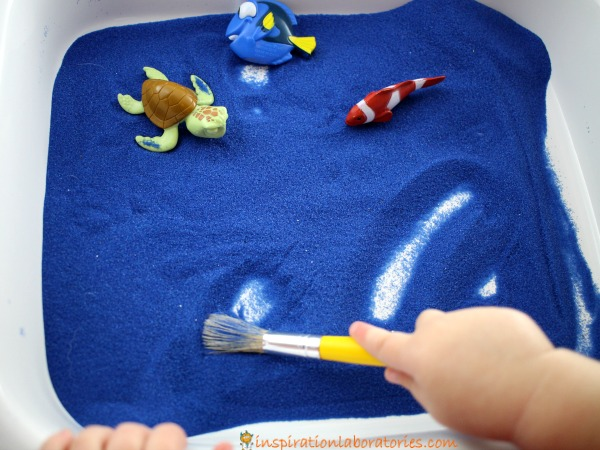 Use a Finding Dory Sensory Writing Tray to practice pre-writing skills.