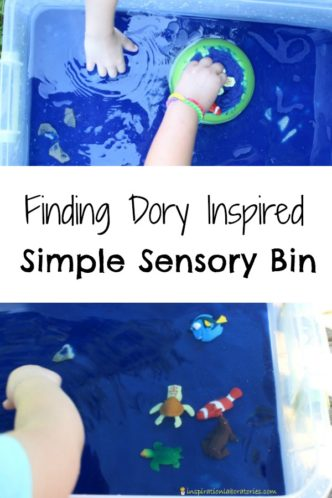 Create a simple sensory bin inspired by Finding Dory