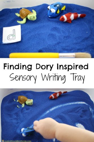 Use a Finding Dory Sensory Writing Tray to practice letter formation, spelling, pre-writing skills.