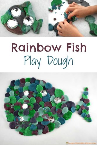 Rainbow fish play dough is such a fun way to work on fine motor skills. It's the perfect sensory activity to go along with The Rainbow Fish by Marcus Pfister.