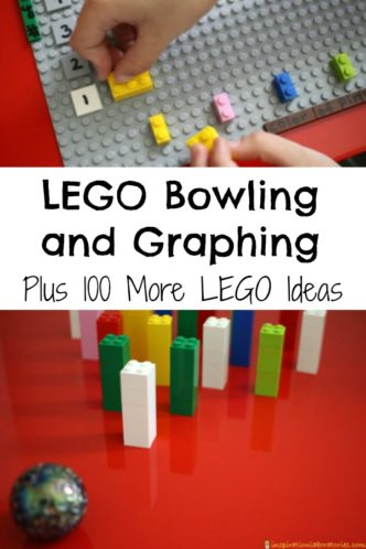 Play a fun LEGO bowling game and graph the results. This post contains a link to 100 more LEGO learning ideas as well.