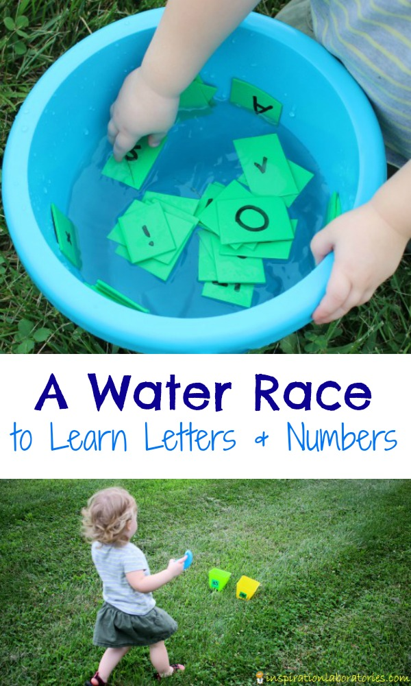 Toddler and preschoolers will love this water race to learn letters and numbers!