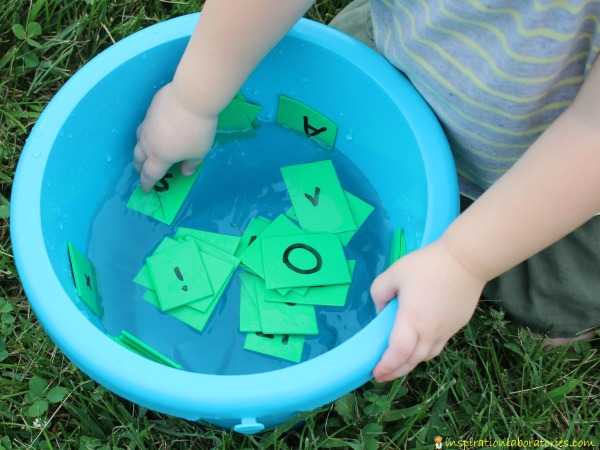 Toddler will love this water race to learn letters and numbers!