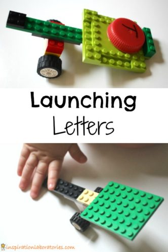Watch those letters fly! Launching letters is a fun way to combine catapults with learning letters.