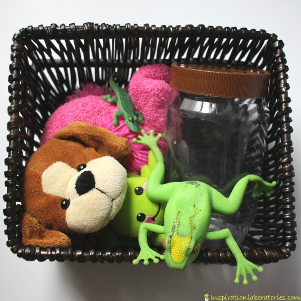 Create a storytelling basket for the book, Ah Ha! by Jeff Mack.