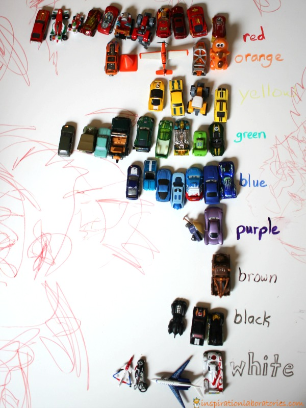 Learn colors by making a car rainbow.