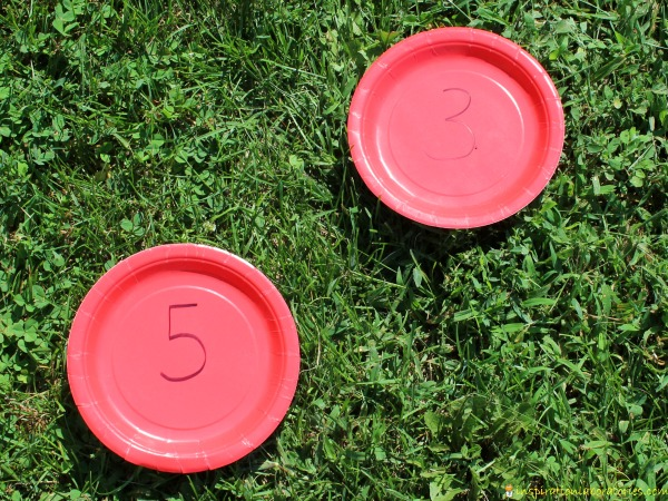 Use paper plates for this number run game.