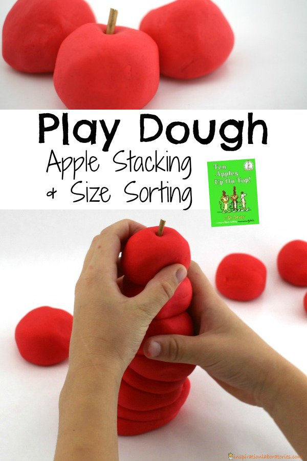 Try a play dough apple stacking activity after reading Ten Apples Up On Top by Dr. Seuss
