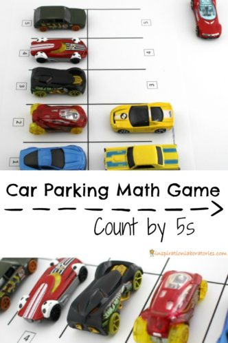 Practice number recognition and counting with a fun car parking math game. Download the free printable.