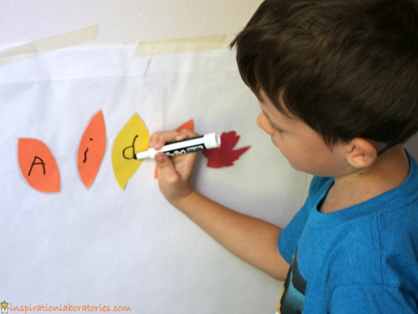 Leaf Name Sticky Wall - practice name recognition or name writing with this fun name activity.