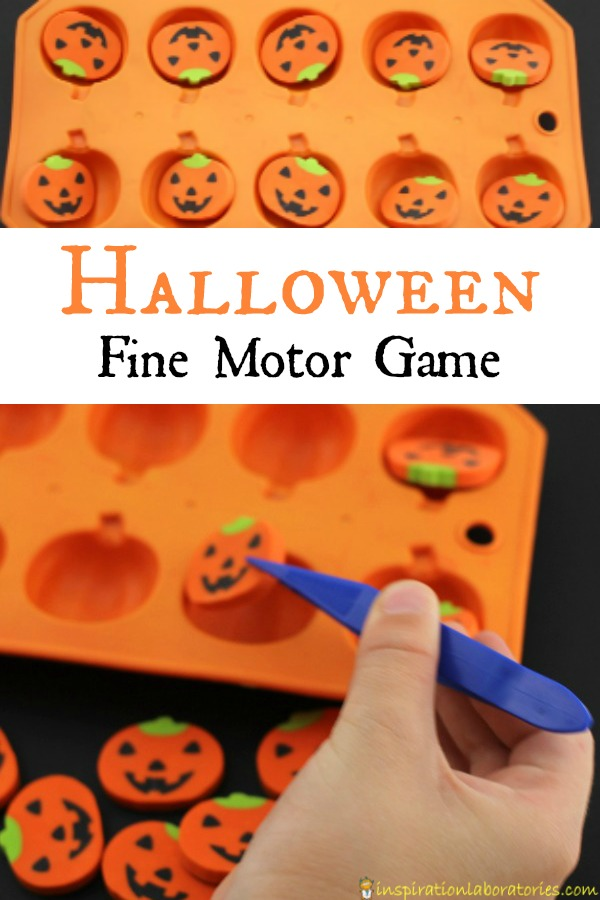 Use erasers for a simple Halloween fine motor game.