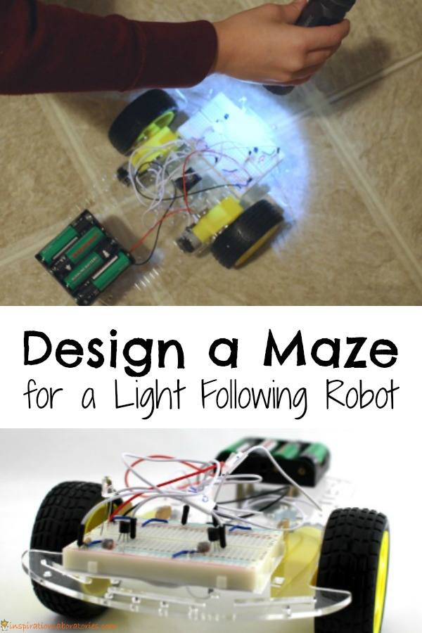 Design a maze for a light following robot. This is a great electronics and robotics project for kids.