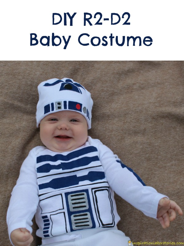 Use a freezer paper stencil to make an R2-D2 costume for baby. Sponsored by #BacktoBabyBasics