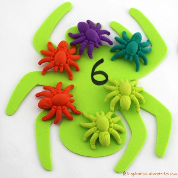 Counting spiders is a fun way to practice one to one correspondence.