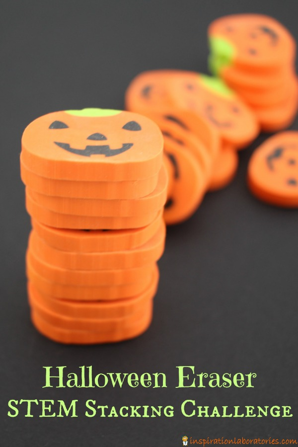 Use pumpkin erasers for a fun Halloween themed STEM stacking challenge. It makes for a great busy bag, too.
