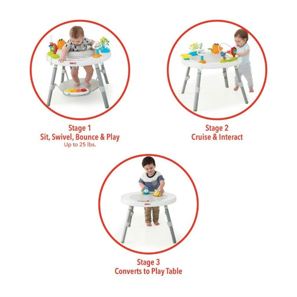 This activity center grows with your baby. It can be used for 3 stages - sitting, cruising, and as a play table.