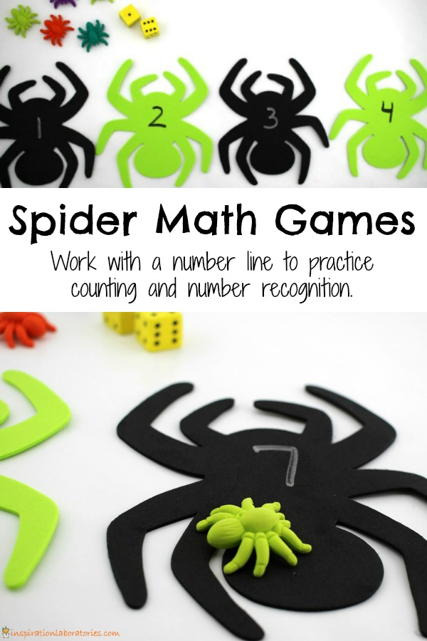 Play spider math games to work on counting and number recognition plus get kids moving.