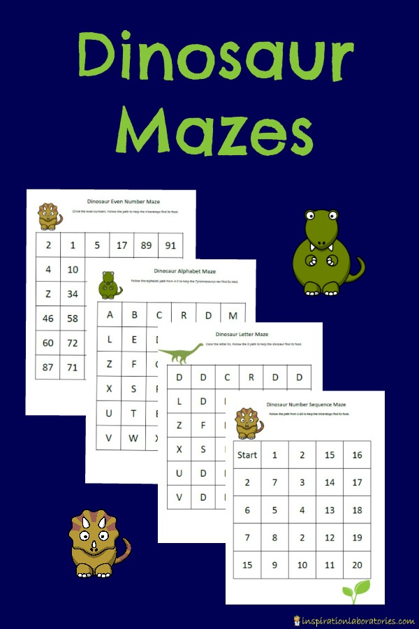 Free printable dinosaur mazes to work on number recognition and sequencing, counting, even numbers, letter recognition, and alphabetical order.