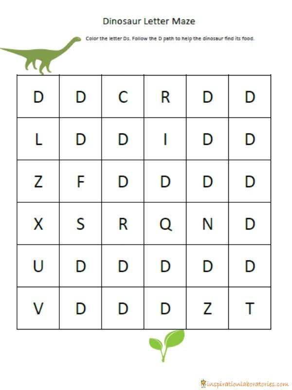 dinosaur letter d maze