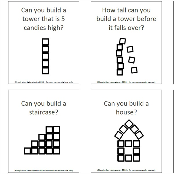 Print out these candy building challenge cards for a fun STEM activity.