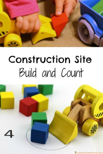 Try out our construction site build and count activity inspired by Goodnight, Goodnight Construction Site. It's a great way to practice number recognition and counting while building with blocks.