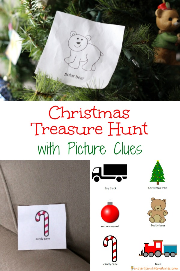 Go on a Christmas treasure hunt with picture clues. Even the youngest treasure hunters can play along!