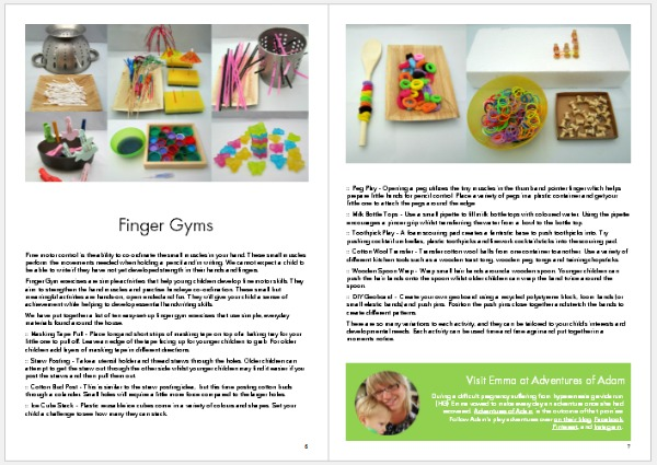Make Your Mark sample page Finger Gyms