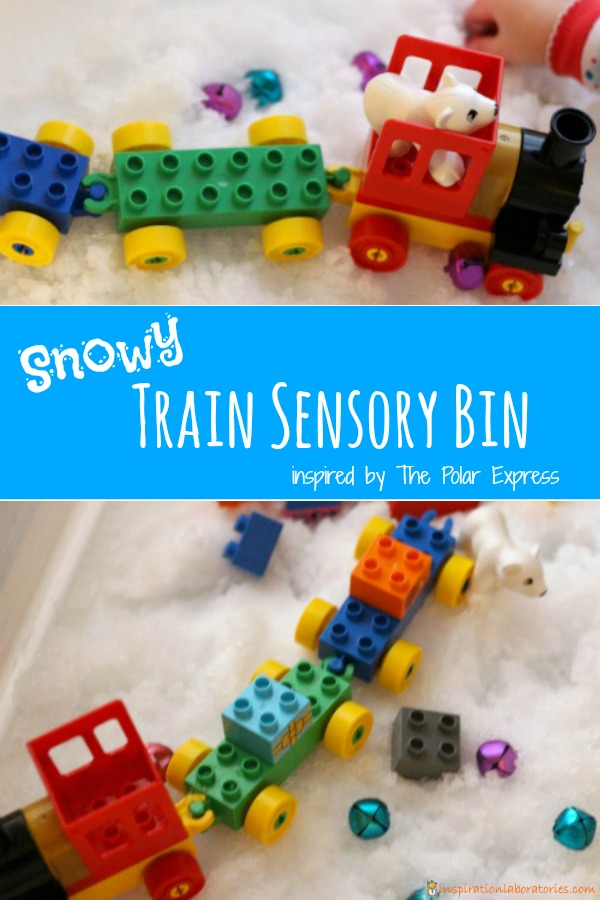 Create a snowy train sensory bin inspired by The Polar Express. Use real snow or make your own snow.