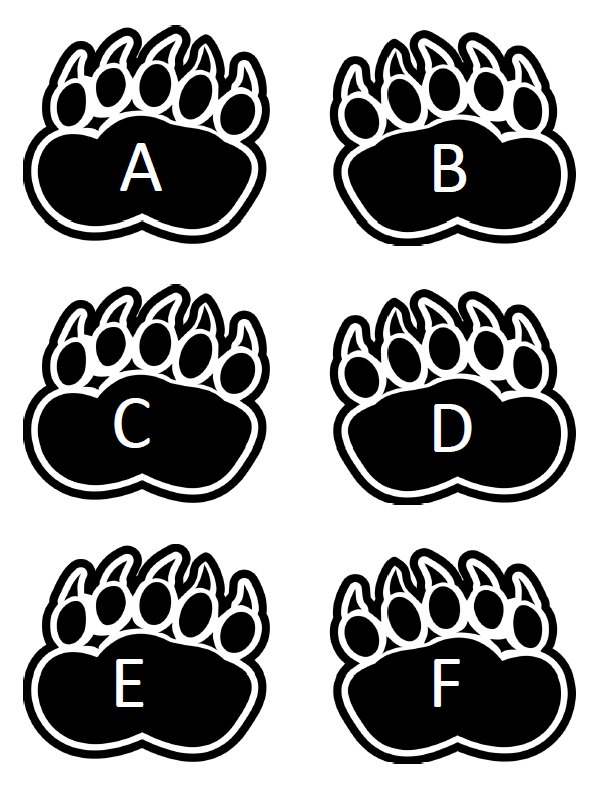 Print out the bear paw alphabet tracks.