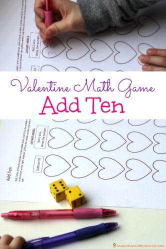 Play Add Ten - a Valentine's Day math game that practices adding and subtracting ten.