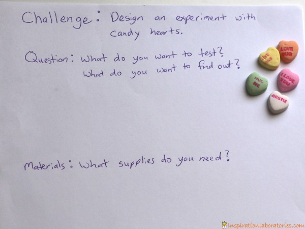 Design an experiment with candy hearts.