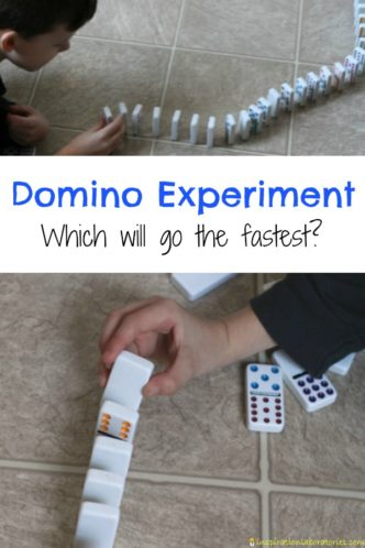 Design a domino experiment to determine which domino chain will go the fastest.