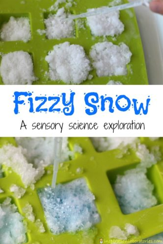 Fizzy snow is a fun sensory science exploration that kids will love.
