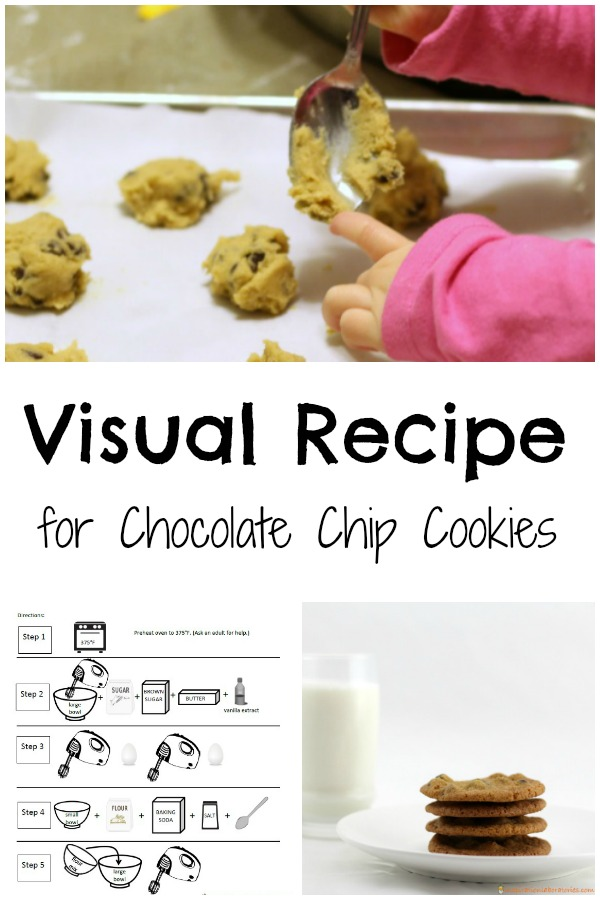 Inspired by If You Give a Mouse a Cookie. Follow a visual recipe for chocolate chip cookies. It's a fun way to get kids in the kitchen. Reading and following a recipe is great practice for following a science procedure.