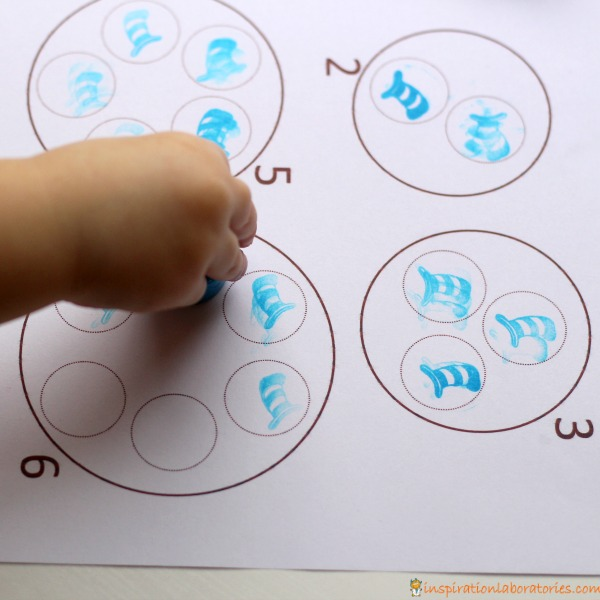 Use festive stamps to practice counting. Perfect for Dr. Seuss Day and Read Across America.