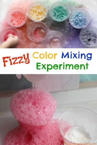 A fizzy color mixing experiment is an easy kitchen science experiment for kids.
