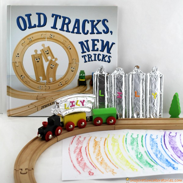 Old Tracks, New Tricks will inspire you to try new adventures with your train sets. Decorate train tracks with foil and rainbows to practice colors and name recognition.