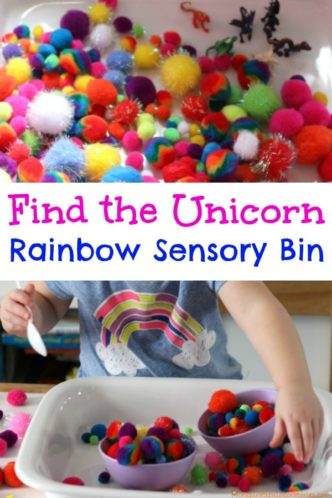 Find the Unicorn Rainbow Sensory Bin - Kids will love this colorful hide and seek game.
