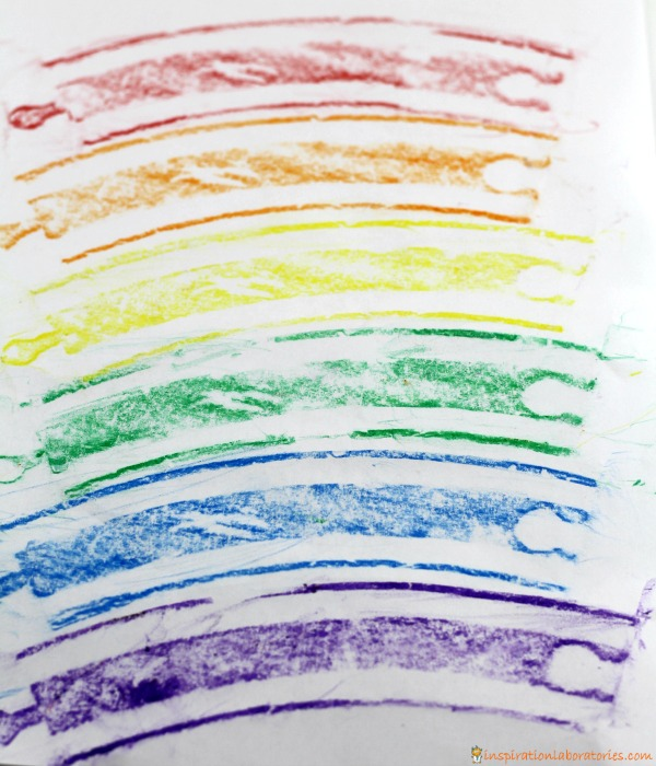 Make rainbow track prints inspired by Old Tracks, New Tricks.