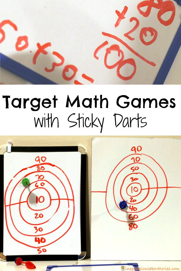 Play target math games with sticky darts to practice addition and subtraction.