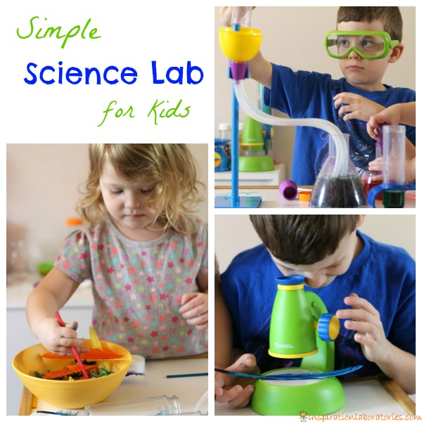 Set up a simple science lab for kids to encourage pretend play and science skills.